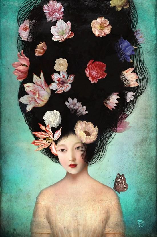 Девушка с цветами вместо волос