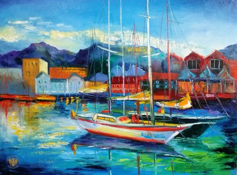 морской пейзаж с лодкой живопись
