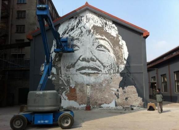Vhils - уличное искусство в Китае