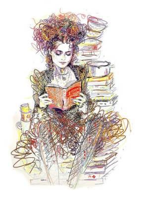 Актриса за чтением книги