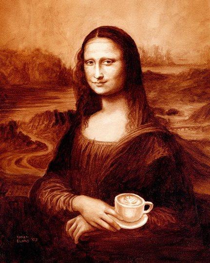 Мона Лиза из кофе, работа художницы Карен Эланд
