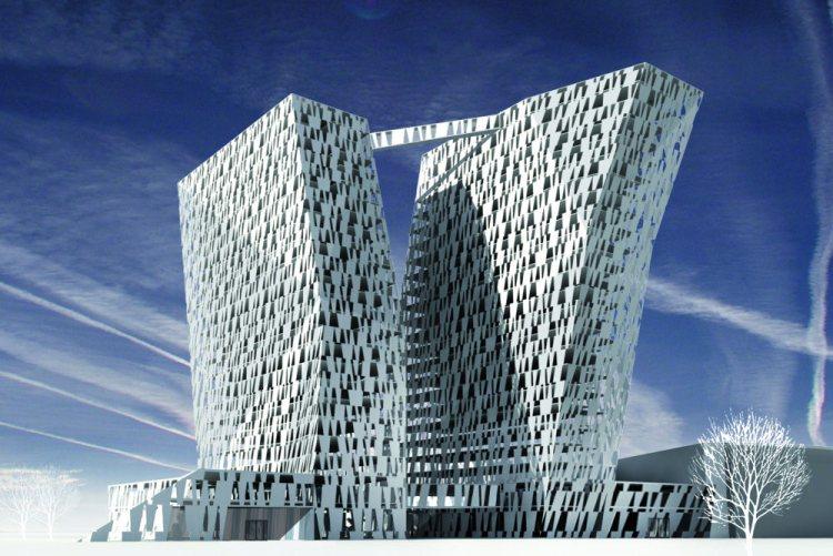Дизайнерский отель с уголом наклона 15 градусов.