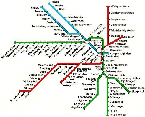 Карта шведского метрополитена.