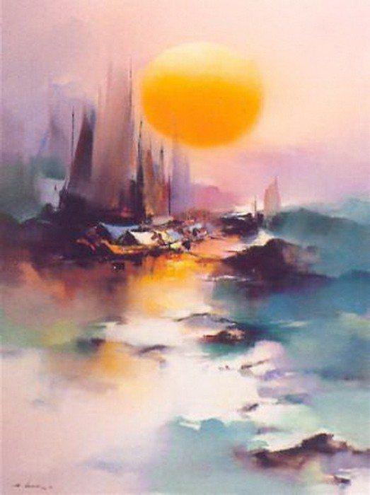 Пейзаж маслом Hong Leung.