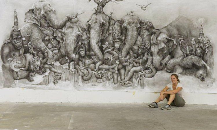 «Слоны» молодой художницы.