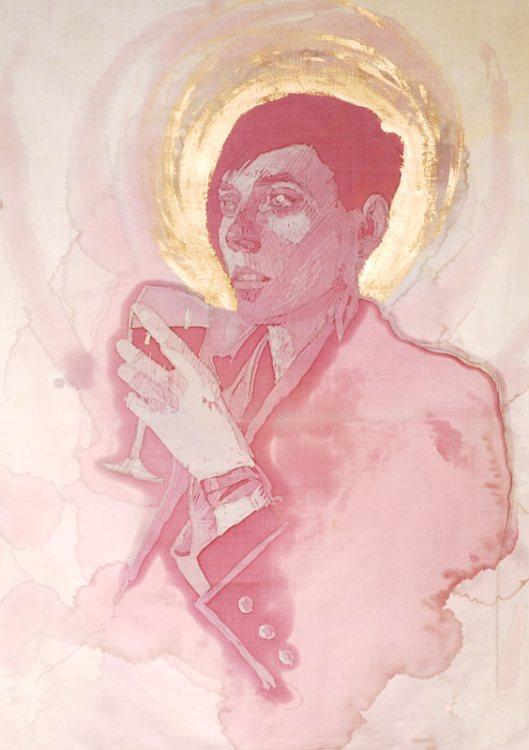 Художница, рисующая портреты вином.