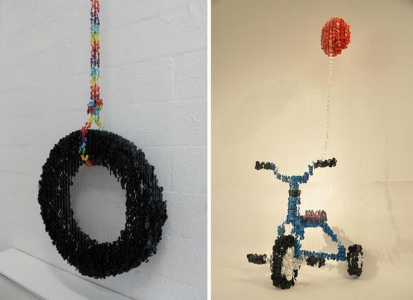 Инсталляции из пуговиц, художник Augusto Esquivel