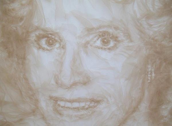Mrs Foster, портрет из тюля, художник Бенджамин Шайн