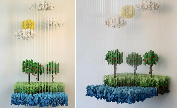 Объемная инсталляция из пуговиц Augusto Esquivel
