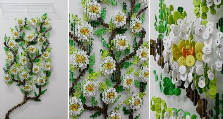 Цветы из разноцветных пуговиц, работа Augusto Esquivel