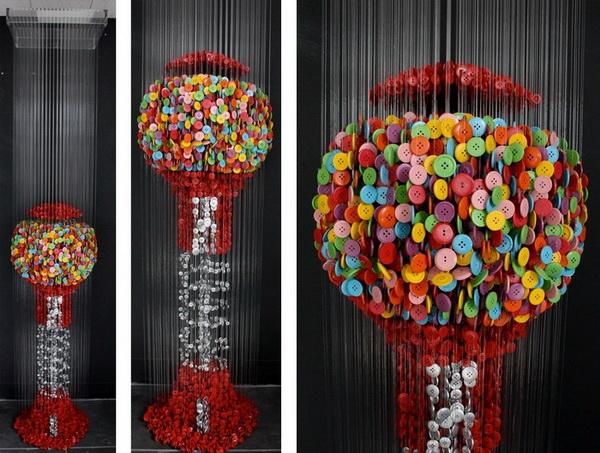 Красивый арт из пуговиц - шар из пуговиц от Augusto Esquivel