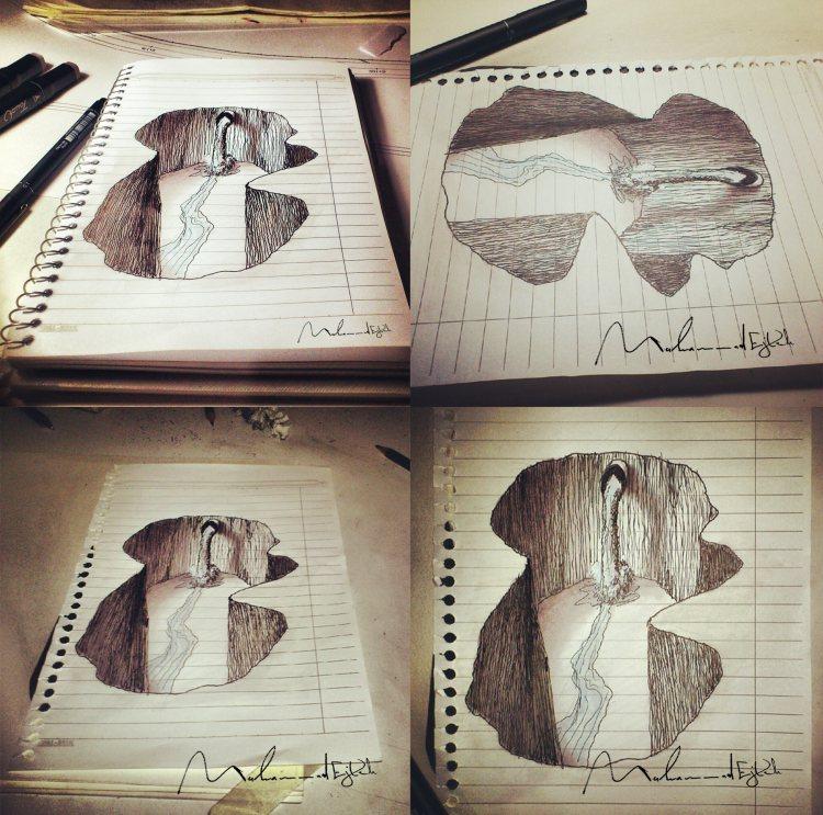 Сирийский художник-иллюстратор, рисующий простым карандашом на бумаге.