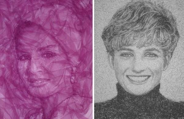 Портреты из тюли - Шейха Моза и Принцесса Диана, художник Benjamin Shine